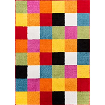 Well Woven StarBright Bright Square Modern Geometric Multi 5' x 7' Kids Area Rug, Multicolor