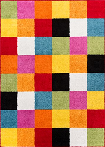 Well Woven 09535 StarBright Bright Square Modern Geometric Multi 5' x 7' Kids Area Rug, Multicolor