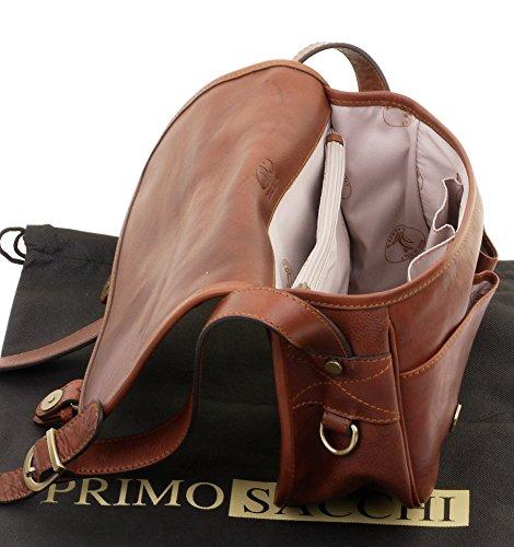 Primo sacchi® Ladies Luxury italiano borsa in pelle stile spalla crossbody borsa borsetta. Include borsa di stoccaggio di marca Marrone