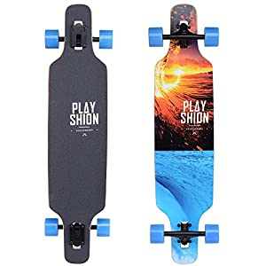 Playshion Freeride Freestyle Drop Through Longboard Skateboard Complete (Surf)