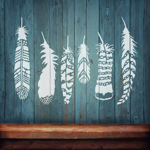 Feathers 6-Piece Stencil Kit - Trendy wall stencils for wall décor - DIY Wall Design - By Cutting Edge - Priority Delivery Usps Hours Mail