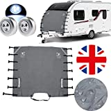 Silvotek Caravan Front Towing Cover - Caravan Front Protection Covers with 2 LED Lights,Upgraded Fasteners Caravan Front Cover