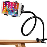 Phone Holder, Costech Heavy Duty Metal Gooseneck Long Arm Fashion Flexible Stand Lazy Bracket 360-degree Rotating Mount Clip on Holder for Iphone, Samsung, and More Other Mobile Phone (Black)