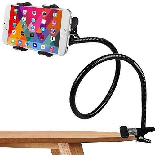 Phone Holder, Costech Heavy Duty Metal Gooseneck Long Arm Fashion Flexible Stand Lazy Bracket 360-degree Rotating Mount Clip on Holder for Iphone, Samsung, and More Other Mobile Phone (Black) by Costech