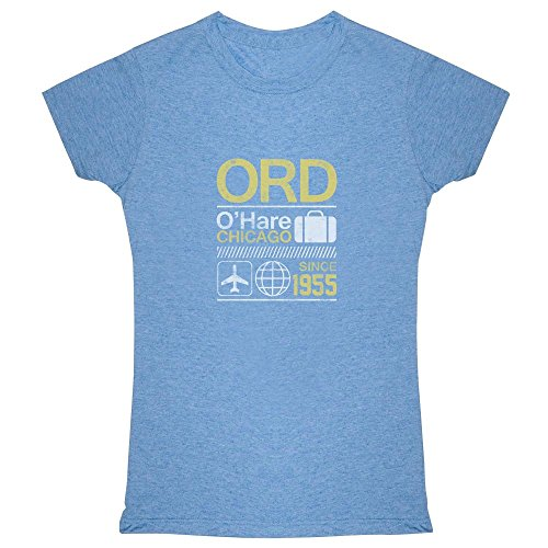 Pop Threads Ord O'Hare Chicago Airport Code Travel Heather Blue S Womens - Shops Hare O Chicago