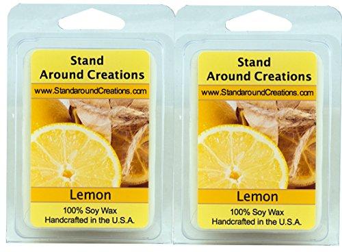 100% All Natural Soy Wax Melt Tarts - Set of 2 - Lemon - Fresh Lemons Sunny and Tart, Bursting with citrusy zing! - 3ozs./ea. - Naturally Strong Scented
