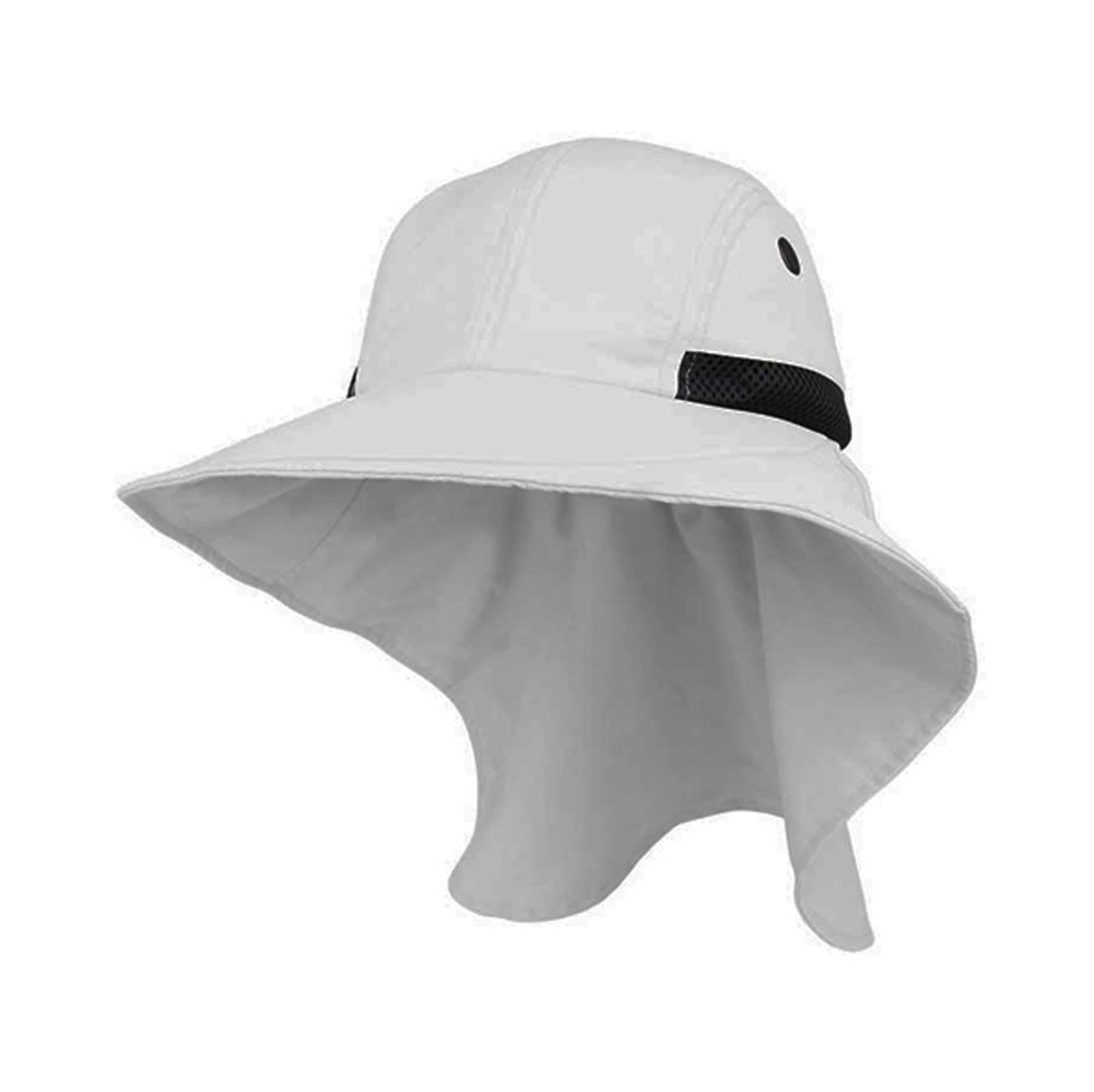 Mega Cap Juniper Womens White Wide Brim Outdoor Sun Flap Hat