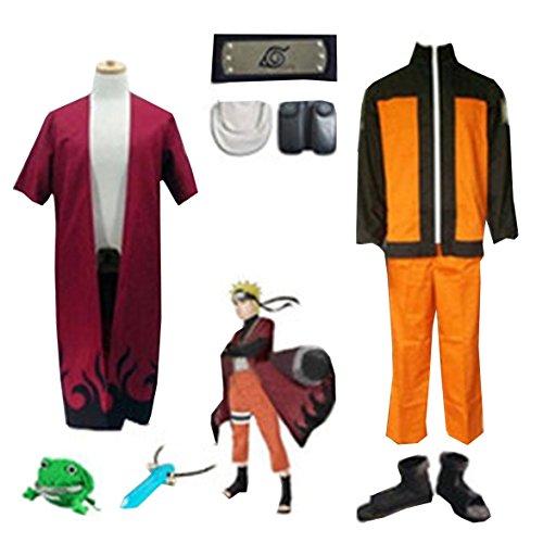 [LYLAS Naruto Uzumaki Naruto Full Set Cosplay Costume (L)] (Naruto Shippuden Costume)