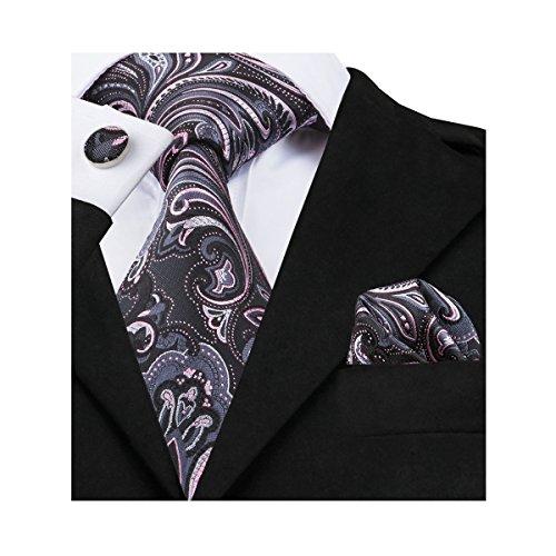 Neckties Stripe Check Paisley Ties Black Set Handkerchief Barry Wang Black 6 Cufflinks for Men SP88vqzw