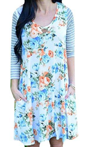4 Dress Jaycargogo Cross Print Women's Criss Floral Mini Sleeve White Flare 3 UvwY7qSxv