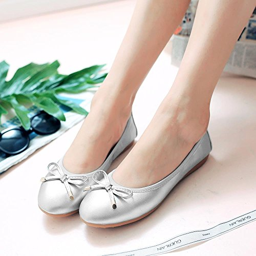 Silver B1 Flat Flats Toe Leather Womens Classic Pointy 628 Shoes4PD Ballet Slip On LIURUIJIA 6HOfZR