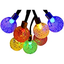 Lalapao Solar Powered Globe String Lights 2 Pack 30 LED (19.7ft) Crystal Ball Christmas Fairy String Light for Outdoor Xmas Tree Garden Path Patio Home Lawn Holiday Wedding Party Decor (Multi Color)