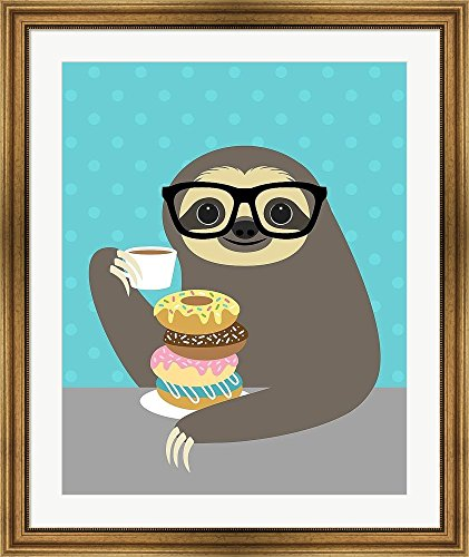 Snacking Sloth By Nancy Lee Framed Art Print Wall Picture, Flat Silver Frame, 32 X 38 Inches -