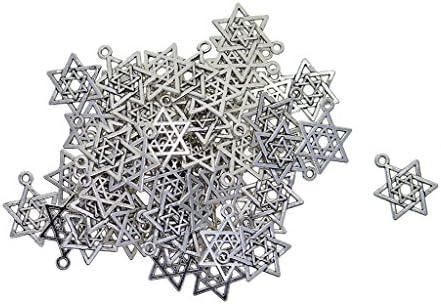 dailymall 50ピースチベットシルバーソロモンのシールヘキサグラムジュエリー作りチャームペンダントDIYヴィンテージネックレスブレスレットイヤリングアクセサリー、21x16mm