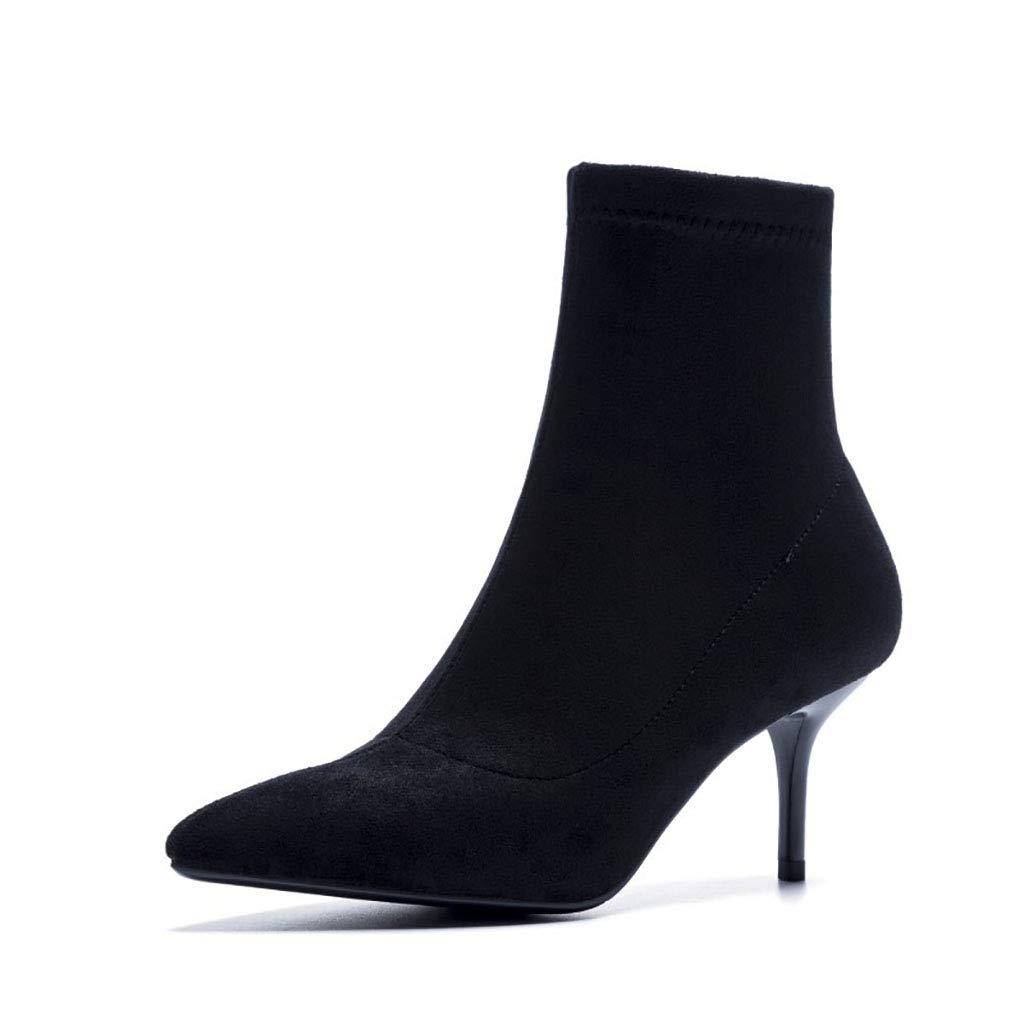 HRN Frauen Stiefeletten Wildleder Stiletto Spitze Kurze Stiefel seitlichen Reißverschluss Bequeme Stilettos Winter neu,schwarz,35EU