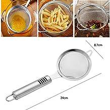 Strainer Ladle Stainless Steel Fryer Skimmer Spoon Wire Fine Mesh Oil Strainer Pot Spoon Hand Spider Skimmer for Frying Oil, Hot Pots, Soups