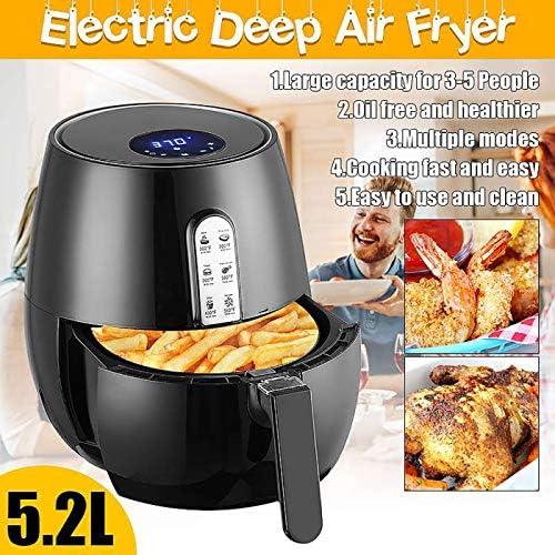 WXJHA Friteuse Air Intelligente, 1350W 5.2L Friteuse Air LED Tactile Numérique Température Timer Écran De Contrôle Électrique Air Fryer Cuisine Outils