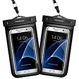 Universal Waterproof Case [2-Pack], MoKo CellPhone Dry Bag Pouch with Armband & Strap for iPhone X/8 Plus/8/7/6s Plus, Galaxy Note 8/S8/S8+, LG, BLU & More - BLACK + BLACK