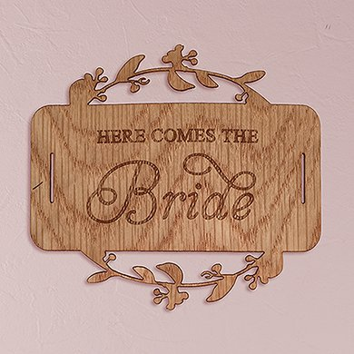 ''Here Comes The Bride'' Wood Veneer Flower Girl Basket Sign by Weddingstar Inc. (Image #1)