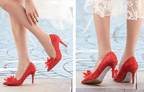 De Altos Cenicienta Zapatos MUYII Boda 9 Cristal Mujeres Las De Los Red Nupcial 5CM Talones De Rhinestone De 33 De q7P4qw0B