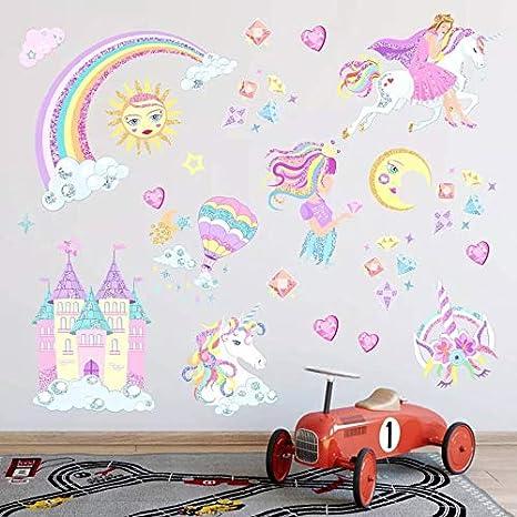 Castle and Rainbow AIYANG Einhorn Wand Aufkleber Regenbogen Farben Wandtattoo Abnehmbaren Wandsticker f/ür M/ädchen Baby Kinder Schlafzimmer Spielzimmer Dekoration