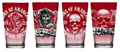 Sons Of Anarchy Red Fade Set Of 4 Drinking Pint Glasses