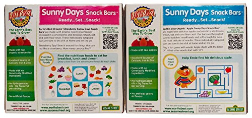Earth's Best Organic Sunny Days Snack Bars, 2 Packs. 1 Box Strawberry and 1 Box Apple 8 Bars in each Box. Plus Free Bonus Disposable Baby Bibs and 1 Baby Washcloth. by Earth's Best (Image #1)