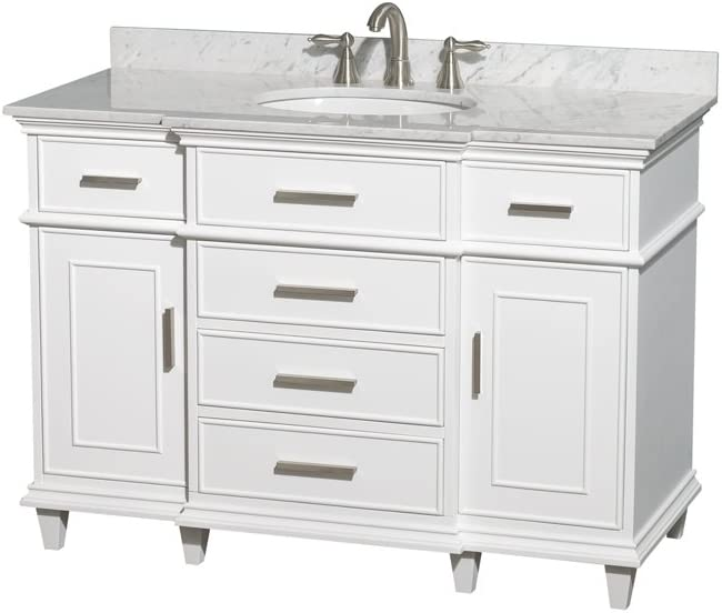 Wyndham Collection Berkeley 48 inch Single Bathroom Vanity in White with White Carrara Marble Top with White Undermount Oval Sink and No Mirror
