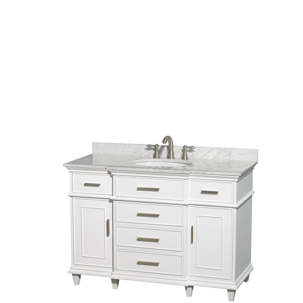 Wyndham Collection Berkeley 48 inch Single Bathroom Vanity in White ...