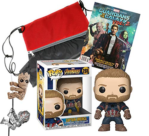 7GB Captain America Funko POP Bundle with Marvel Groot and Ultron Scalers, Guardians of The Galaxy Special Edition Magazine and Drawstring Backpack