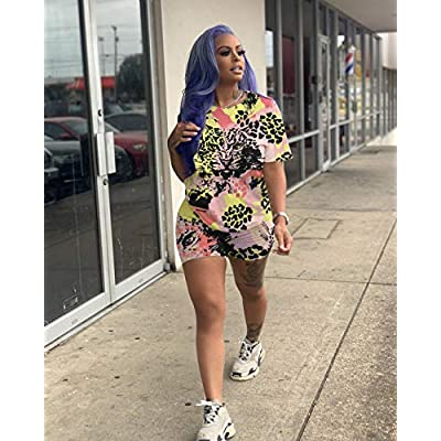 Two Piece Outfits for Women Shorts - Summer Printed T Shirts and Shorts Athletic Tracksuits Set at  Women's Clothing store