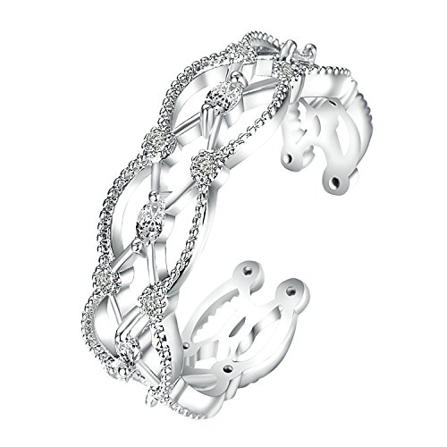 Yoursfs Filigree Ring Adjustable 18K White Gold Plated Unique Filigree Wirework Wide Band Open Ring for Women (Band Filigree Box Jewelry)
