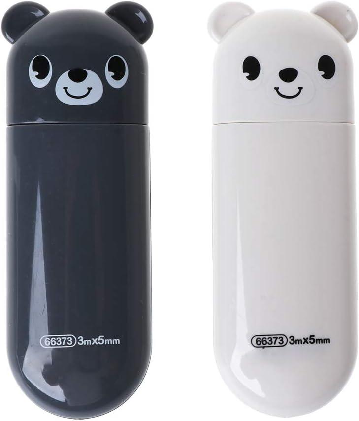 dongguan Cinta correctora Juego de 2 Piezas Kawaii Bear Design Cinta correctora Papeler/ía para Estudiantes /Útiles Escolares Accesorios de Oficina