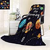YOYI-HOME Premium Duplex Printed Blanket | Super Soft, Cozy Quotes Cute Outer Planets and Star Cluster Solar System Moon andComets Sun Cosmos Multi All Season for Couch or Bed/86.5'' W by 59'' H