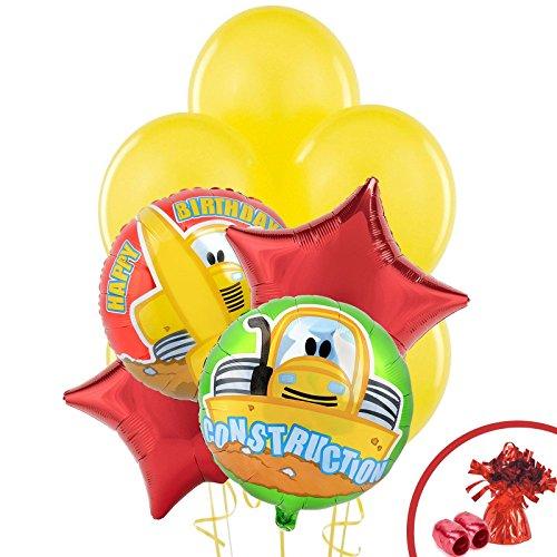 Construction Pals Childrens Birthday Party Supplies - Balloon Bouquet Decoration (Construction Pals Centerpiece)