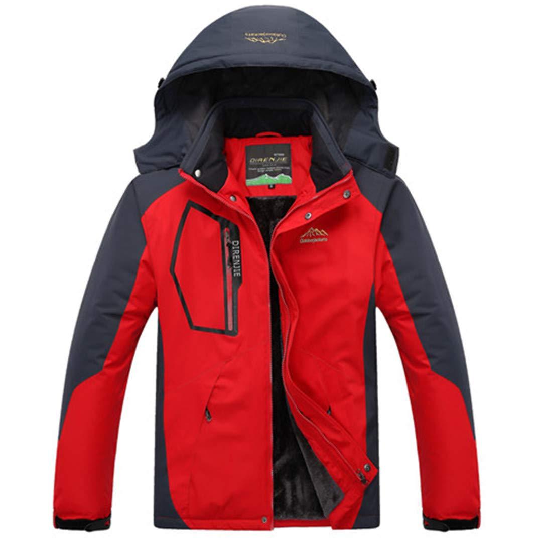 rouge 5XL TH&Meoostny Vestes d'hiver Hommes Coupe-Vent étanche Outwear Polaire épais Manteau Chaud Chaud Manteau MÂle Capuche Amovible Manteau