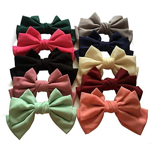 Yazon 10pcs Large Women Fashion Fabric Bows Hair Barrettes Adult Hair Bows Clips ...