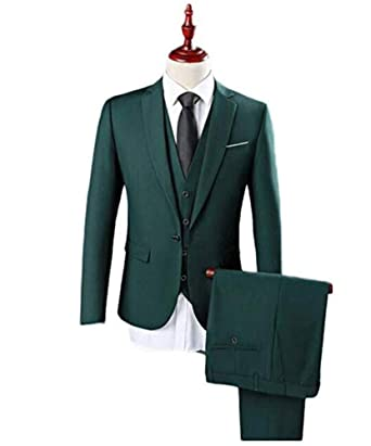 Dark Green Single Breasted Men S Suits One Button 3 Pieces Wedding