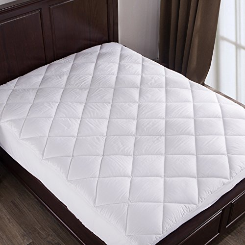 Puredown Down Alternative Mattress Pad/Topper-Fitted-Quilted-Twin(39X75'),100%Cotton Top and Bottom