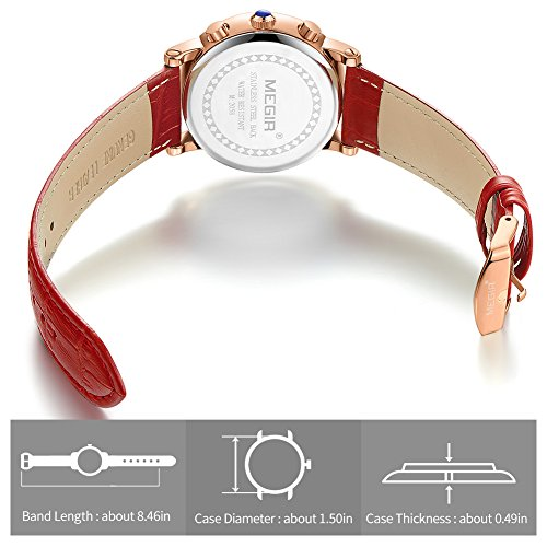 MEGIR Watches for Women Quartz Sport Chronograph Red Leather Strap Stylish Dress Wrist Watch by MEGIR (Image #5)