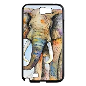 Colorful Elephant Custom Cover Case with Hard Shell Protection for Samsung Galaxy Note 2 N7100 Case lxa#272513