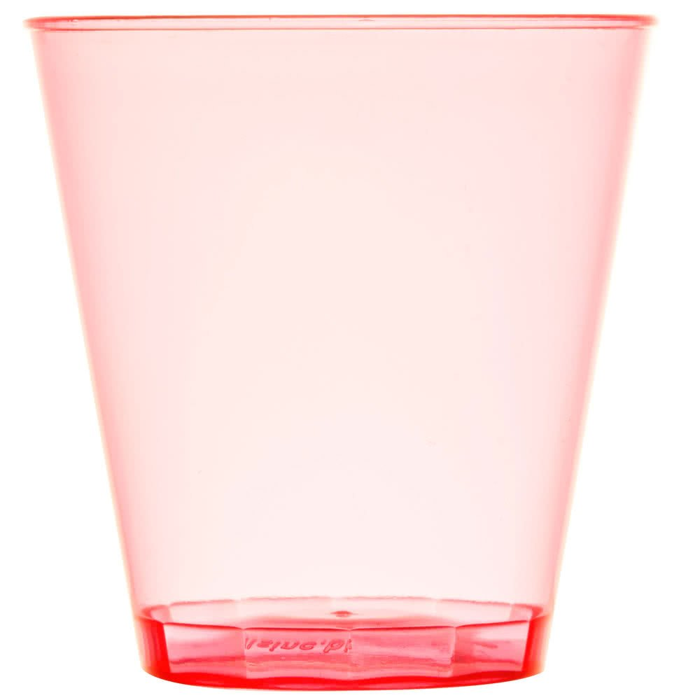 Fineline Quenchers 402-RD 2 oz. Neon Red Hard Plastic Shot Cup - 2500/Case by Fine-line