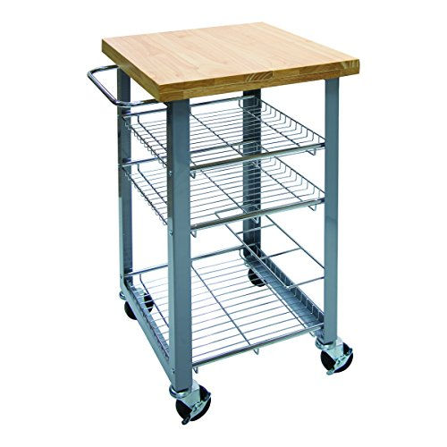 "Vertiflex Companion Serving Cart with 3 Shelves, 17.75"" x 20.13"" x 34.25"", Silver/Wood (VF53038)"