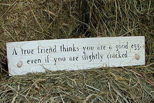 (Burkewrusk Wooden Friend Gift Sign Good Egg Person A True Friend Thinks You are A Good Egg Even If You are Slightly Cracked Funny Wooden Sign)