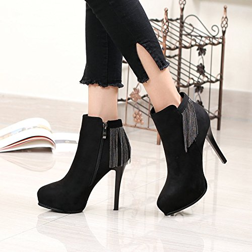 With four Boots Ankle Heeled Winter Fine New Female Boots Waterproof And And Bare Fringed KHSKX Thirty Boots High Boots wnUxYqFax1