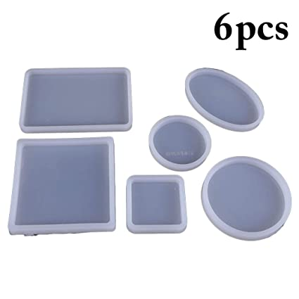 Outgeek 6PCS Casting Mold Jewelry Casting Mold Silicone Mold for Coaster