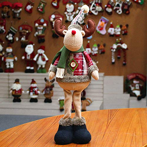 Standing Figurine Toys Xmas Santa Claus Snowman Reindeer Figure Plush Dolls Christmas Decorations Ornaments Home Indoor Table Ornaments Christmas Party Tree Hanging Decor Toys Gifts for Kids ()