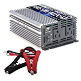 Power TechON 600W Pure Sine Wave Inverter 12V DC to 120V AC with 2 AC Outlets + 1 5V USB Port and 2 Clamp Cables (1200W Peak) PS1001