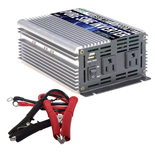 Power TechON 600W Pure Sine Wave Inverter 12V DC to 120V AC with 2 AC Outlets + 1 5V USB Port and 2 Clamp Cables (1200W Peak) PS1001 (1 Inverter)