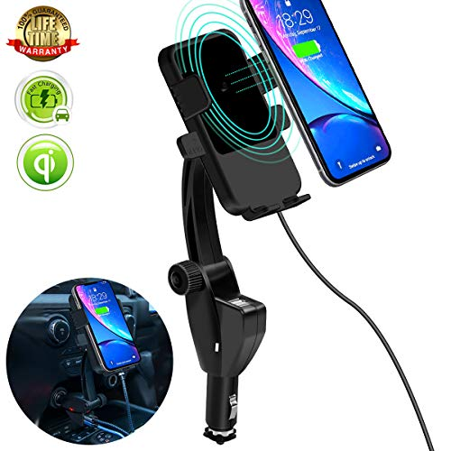 Cigarette Lighter Wireless Car Charger,[10W Qi Wireless Fast Charge]Phone Holder Compatible for Samsung Galaxy S10+ Plus/S9/Note9 and iPhone X/XR/XS Max/Qi-Enabled Phone,Dual USB Charger for Any Phone